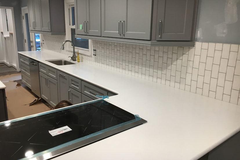 Kitchen countertop and tile backsplash