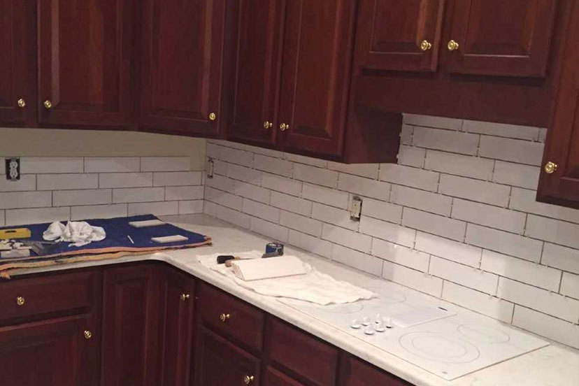 Quartz countertop with tile backsplash